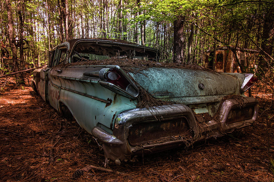 Old Car In The Woods Photograph By Menachem Ganon