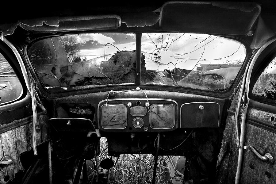 B&w Photograph - Old Car Interior by Cole Thompson