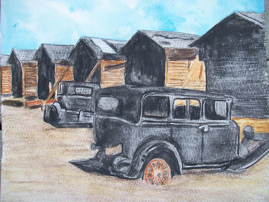 Model A Painting - Old Cars Forgotten Life Original Watercolor By Pigatopia by Shannon Ivins