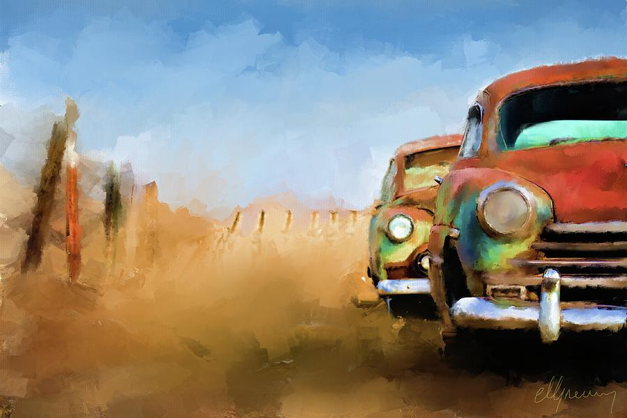 Old Cars Rusting Painting Painting by Michael Greenaway