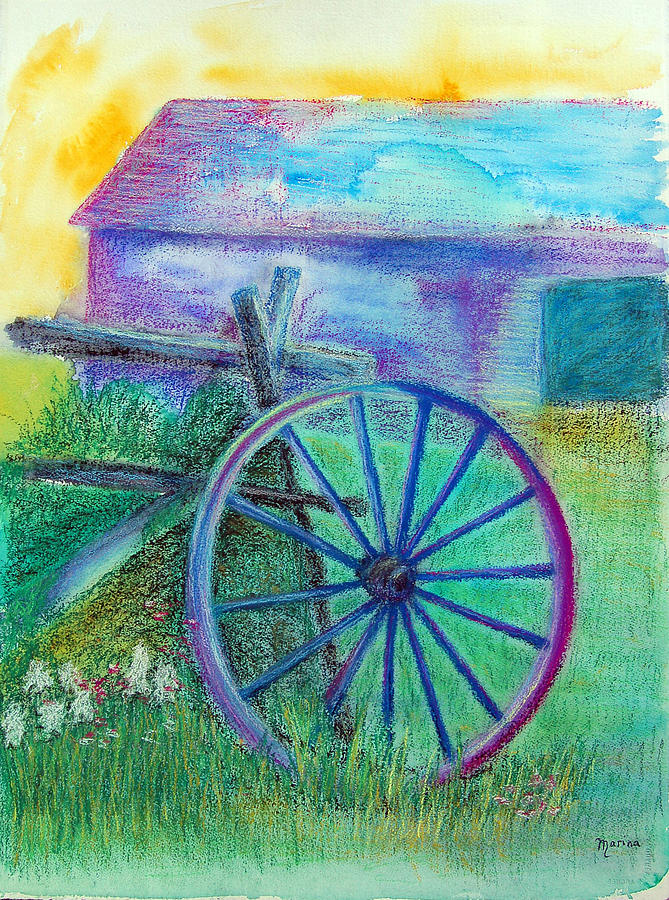 Architecture Painting - Old Cartwheel At Father Pandosy Mission by Marina Garrison