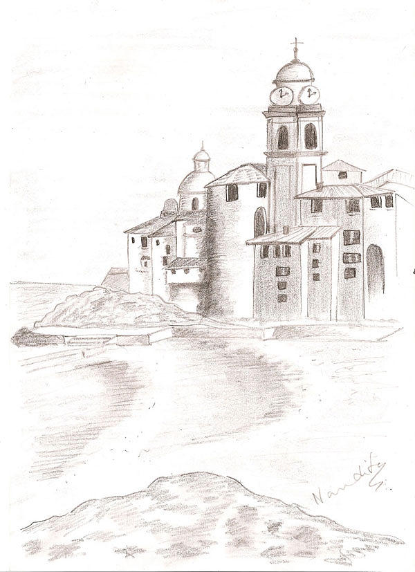Old Castle Drawing - Old Castle by Nanditha Nayak