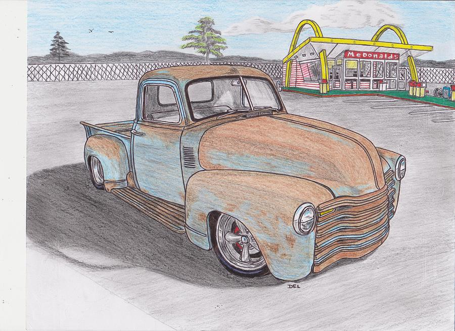 Old Chevy Truck At Mcdonalds Drawing by Darrell Leonard