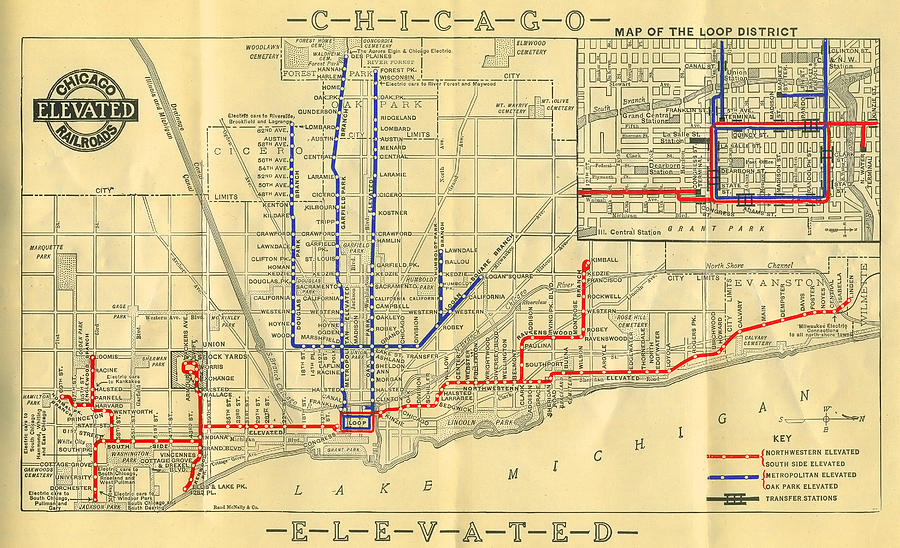 Train In Chicago Map.Old Chicago Elevated Train Map Photograph By Stephen Stookey