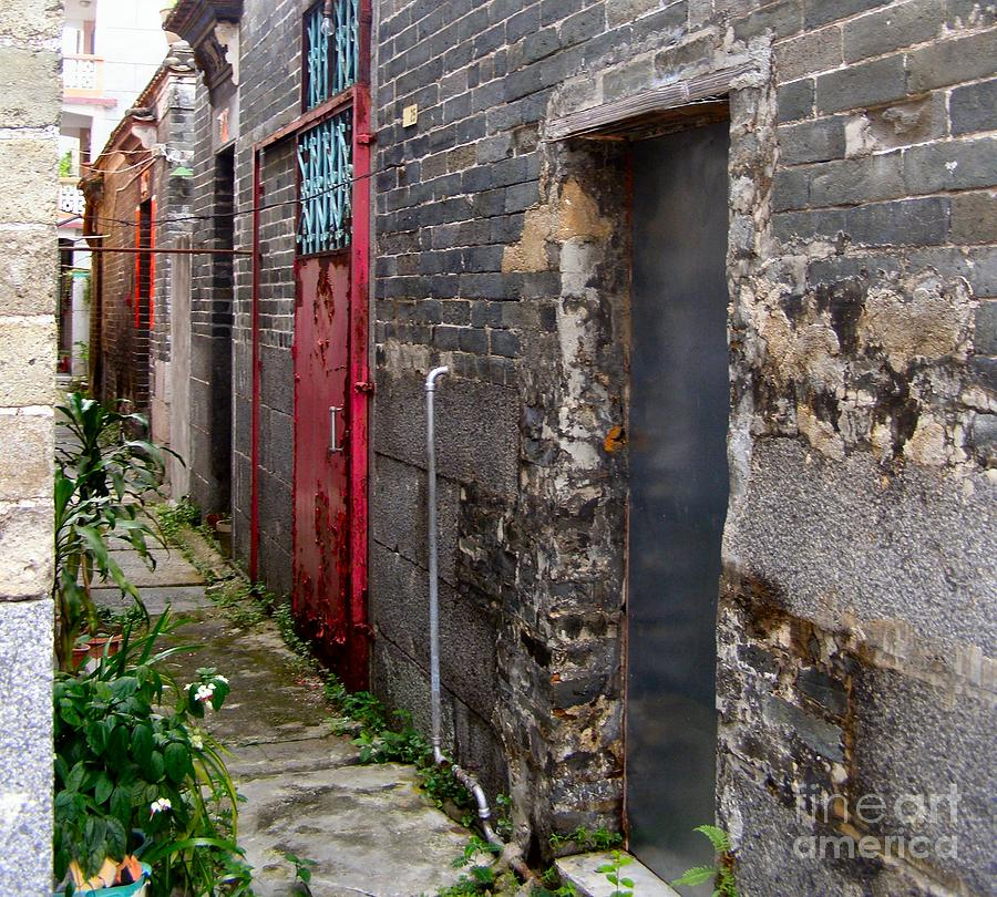 Door Photograph - Old Chinese Village Narrow Walkway by Kathy Daxon