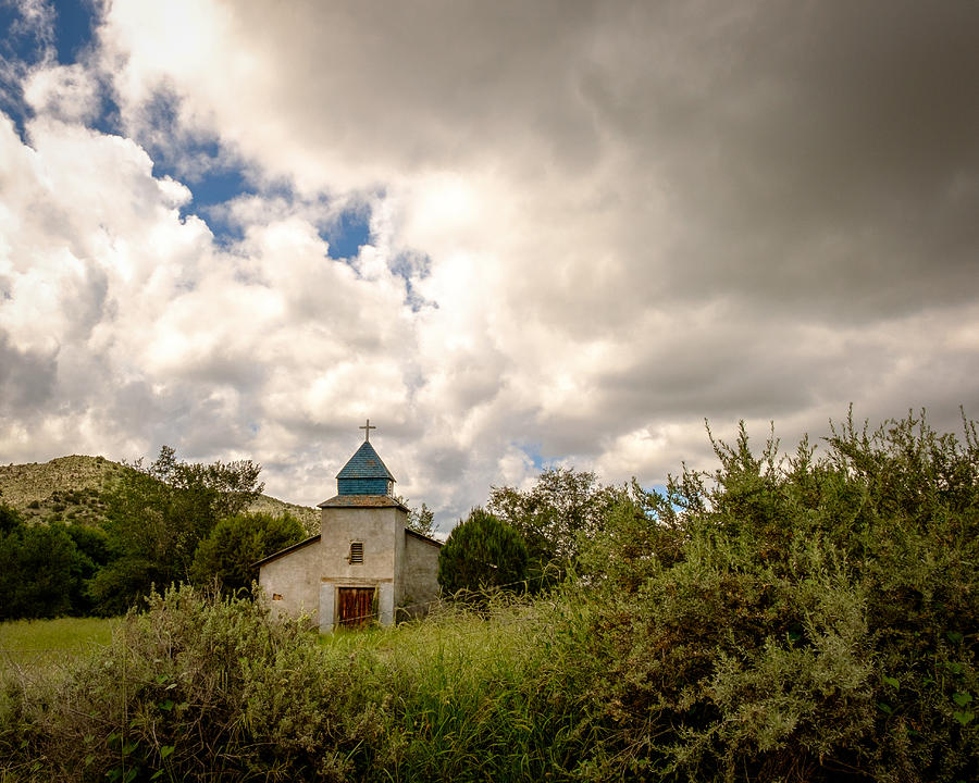 Clouds Photograph - Old church in mountains by Claudia Botterweg