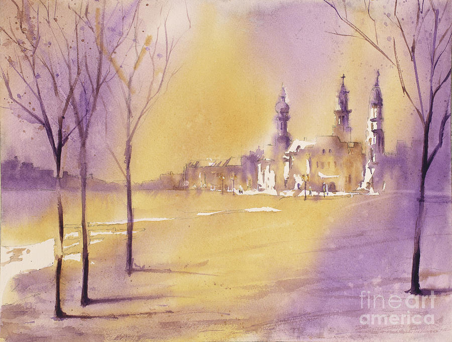 Street Scene Painting - Old City At Dusk by Ryan Fox