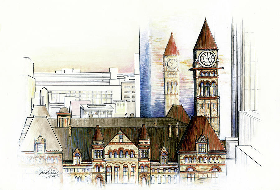 Old City Hall Toronto Painting by Leisa Collins