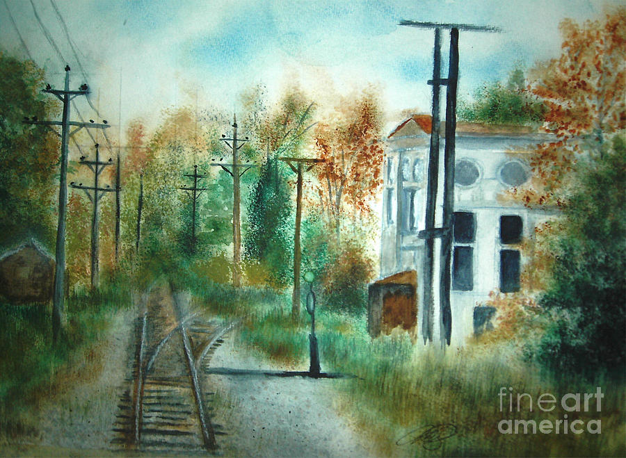 Landscape Painting - Old Cn Station Fort Langley Bc by Vivian  Mosley