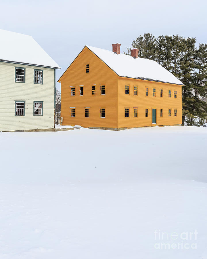 Enfield Photograph - Old Colonial Wood Framed Houses In Winter by Edward Fielding