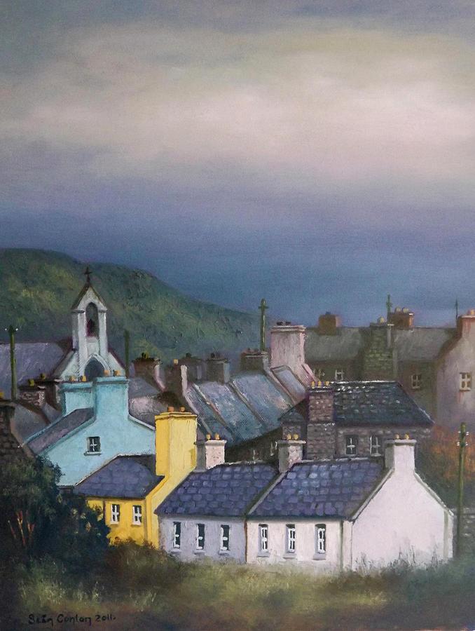 Irish Painting - Old Copper Mining Town by Sean Conlon