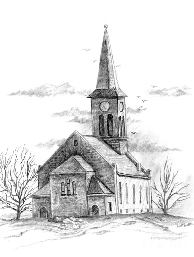 Old Country Church Drawing By Scott Parker
