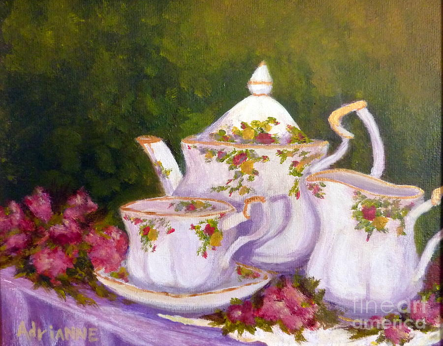 Teapot Painting - Old Country Roses by Adrianne  Wagers