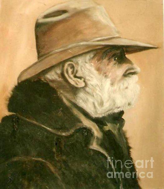 Old Cowboy Painting - Old Cowboy by Vonicia Verton
