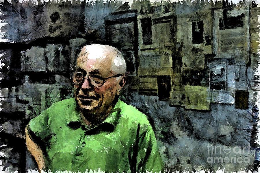 Pencil Digital Art - Old Craftsman Portrait by Giuseppe Cocco