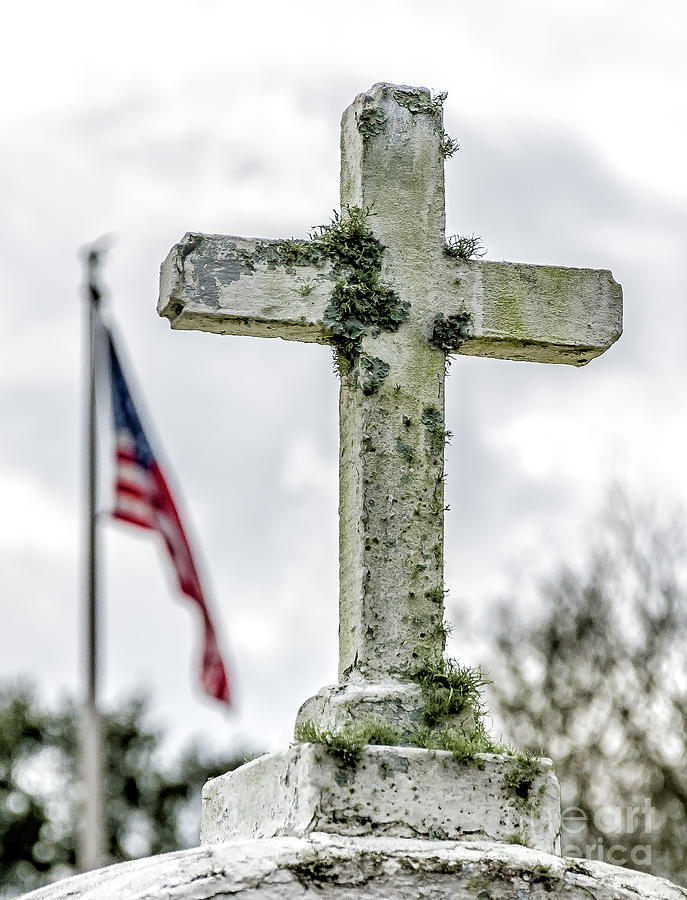 Old Cross And American Flag Photograph