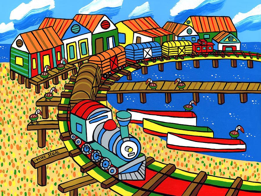 Dock Painting - Old Dock Street - Cedar key by Mike Segal