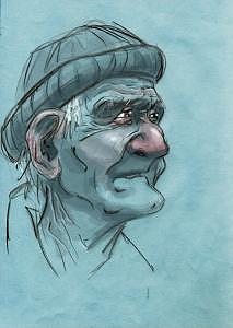 Old Man Digital Art - Old Dock Worker by Zee Risek