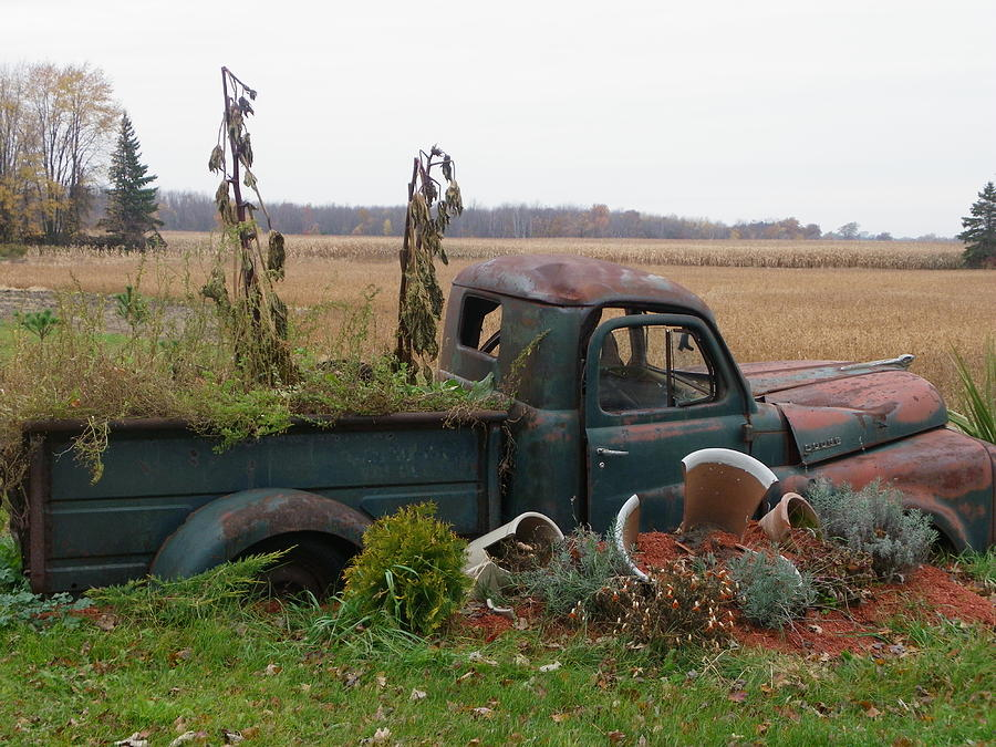 Landscape Photograph - Old Dodge  New Job by Peggy King