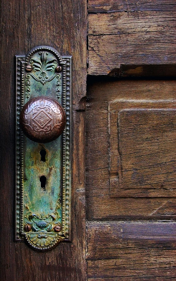 Antique Door Photograph - Old Door Knob by Joanne Coyle