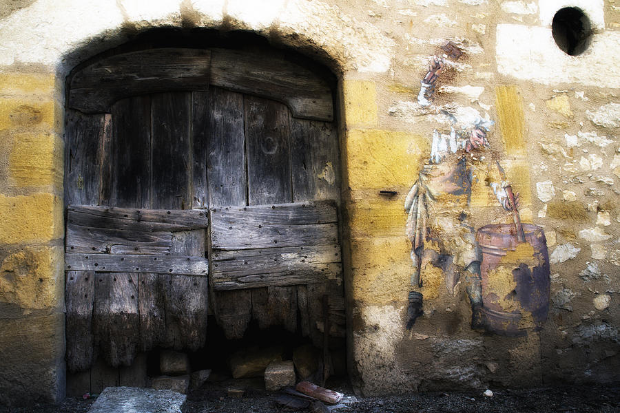 Old Photograph - Old Door With Street Art by Georgia Fowler