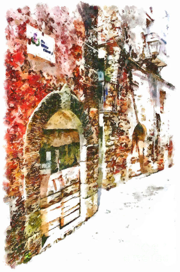 Foreshortening Painting - Old Doors Of The Houses Of The Village by Giuseppe Cocco