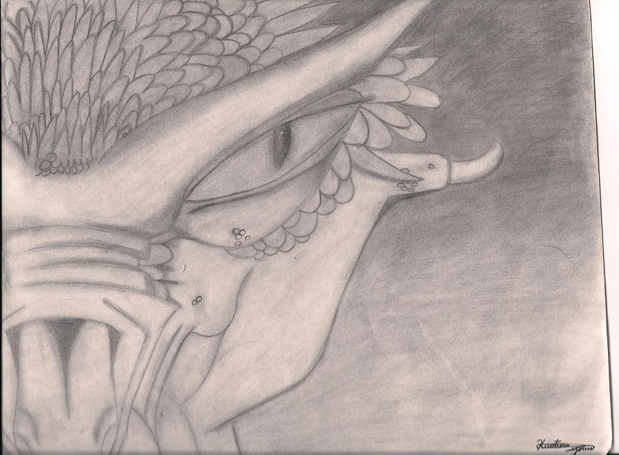 Dragon Drawing - Old Dragon by Kristina  Youn