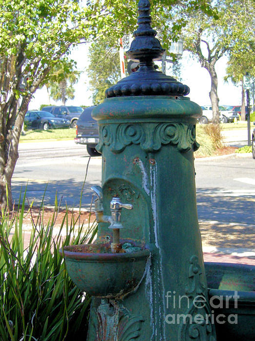 Antique Photograph - Old Drinking Fountain by Barbara Oberholtzer