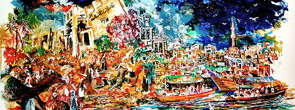 Old Dubai Painting by Mike Shepley DA Edin