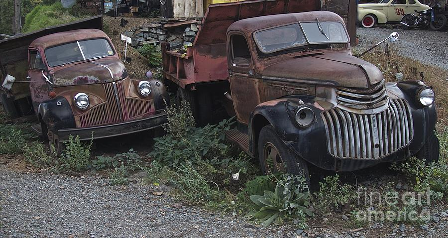Old Truck Photograph - Old Dumptrucks by Anthony Jones