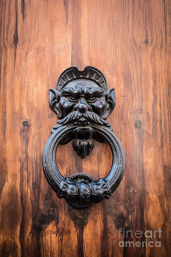 Door Photograph - Old Face Door Knocker by Edward Fielding