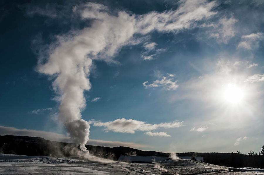 Old Photograph - Old Faithful Erupting At Dawn by NaturesPix