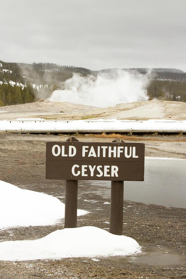 Old Faithful Geyser With Sign Yellowstone National Park Wyomin