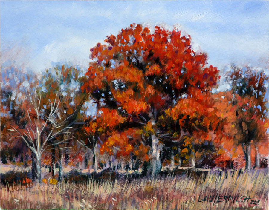 Fall Painting - Old Fall Oak by John Lautermilch
