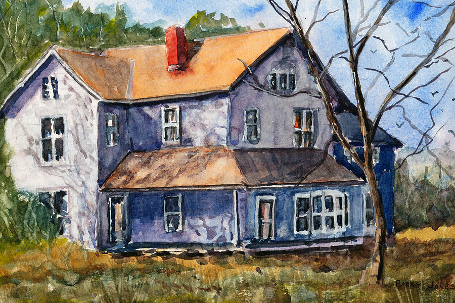 Old farm house watercolor landscape painting by barry jones for Home painting images