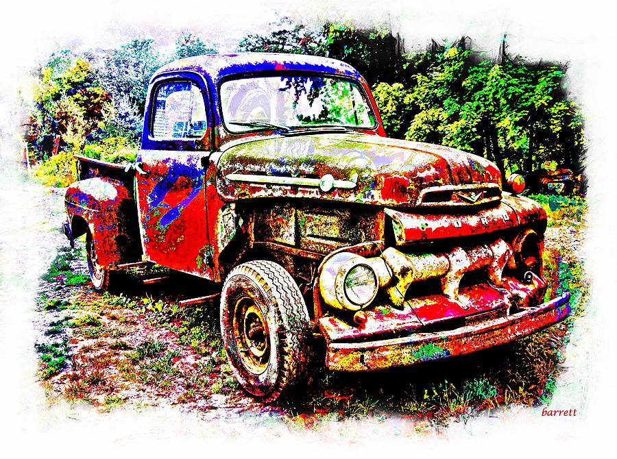 Truck Painting - Old Farm Truck by Don Barrett