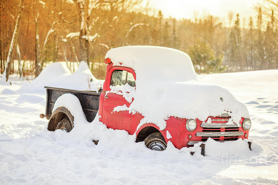 Red Photograph - Old Farm Truck In The Snow by Edward Fielding