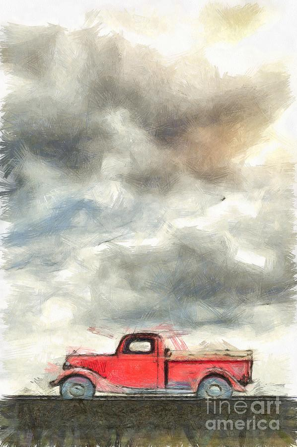 Drawing Photograph - Old Farm Truck Pencil by Edward Fielding