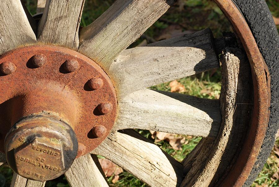 Wheel Photograph - Old Farm Wheel by Peter  McIntosh