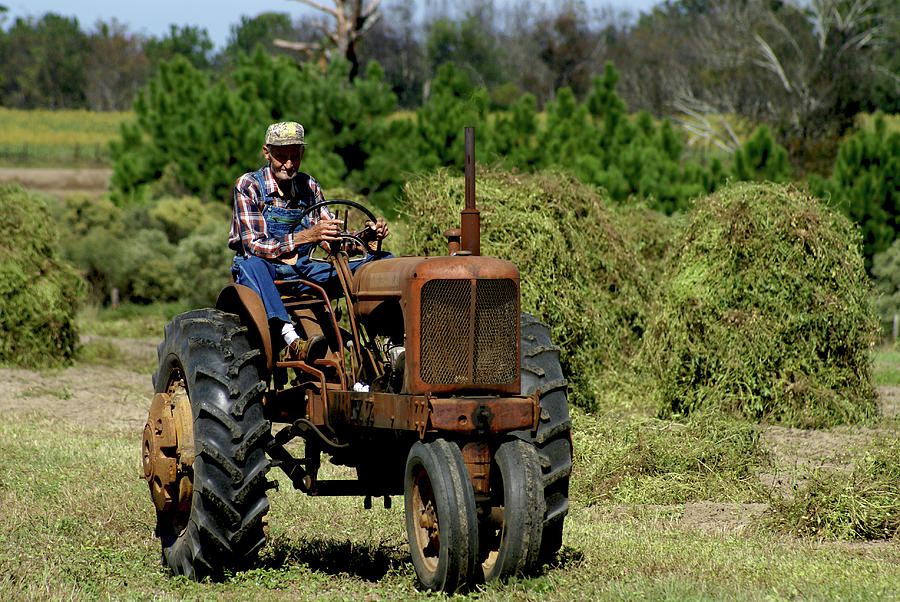 Old Farmer In Field On Tractor Photograph By Danny Jones