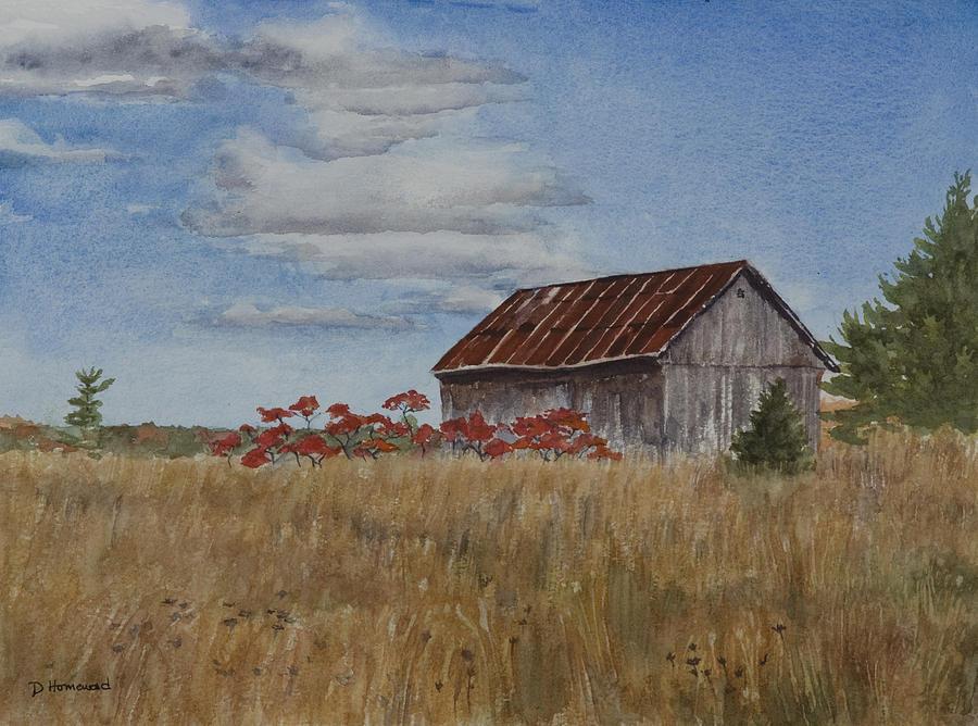 Farm Painting - Old Farmers Barn by Debbie Homewood