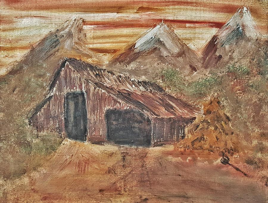 Old Farmhouse Painting - Old Farmhouse With Hay Stack In A Snow Capped Mountain Range With Tractor Tracks Gouged In The Soft  by MendyZ