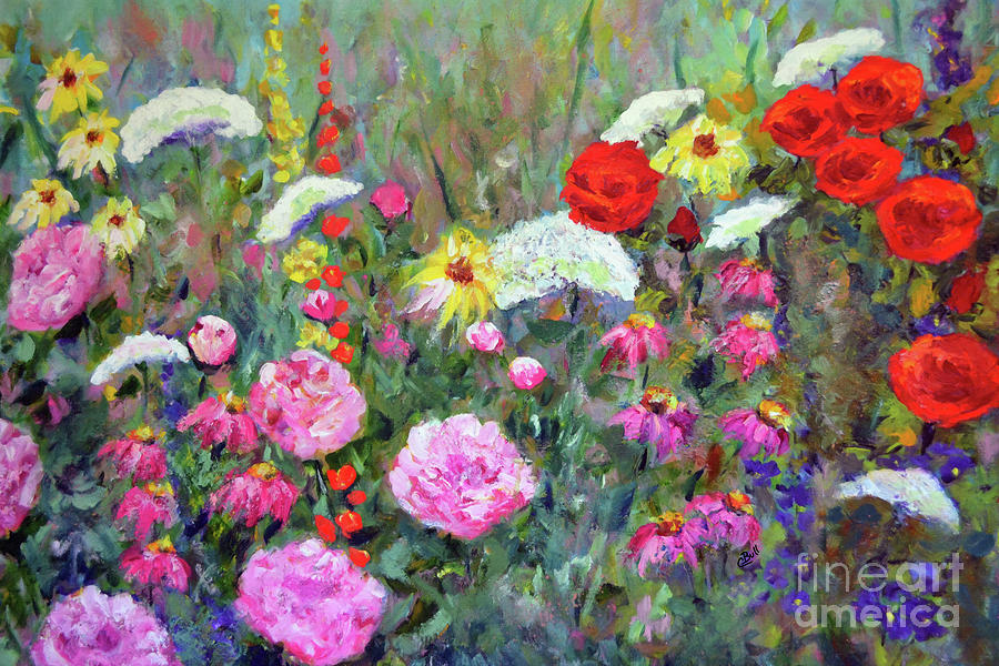 Flowers Painting - Old Fashioned Garden by Claire Bull