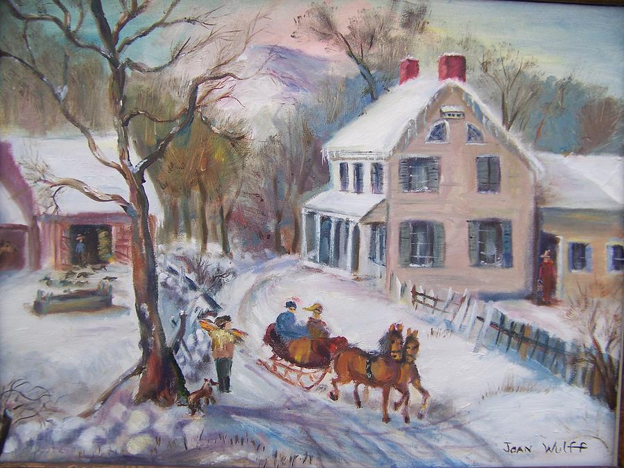 Old Fashioned Winter Painting By Joan Wulff