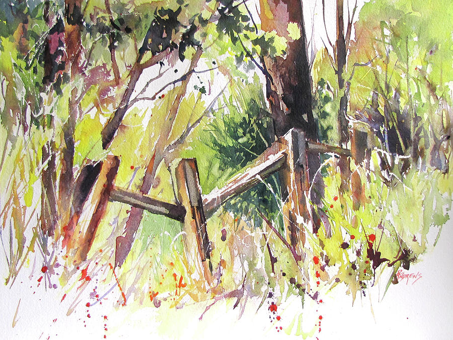 Landscape Painting - Old Fence by Rae Andrews