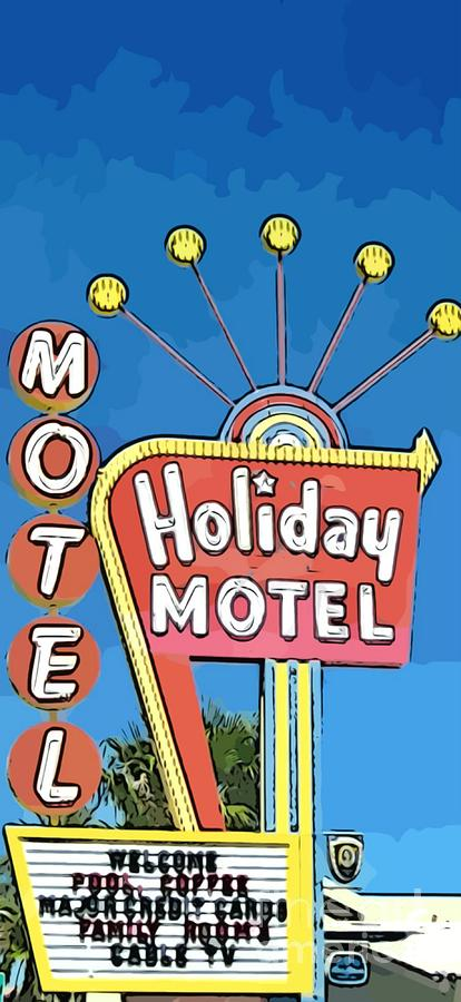Signs Painting - Old Fifties Vegas Hotel Sign Painting by John Malone