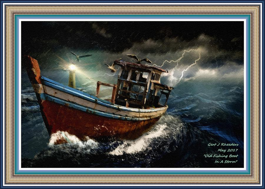 Boat Painting - Old Fishing Boat In A Storm L A With Decorative Ornate Printed Frame. by Gert J Rheeders
