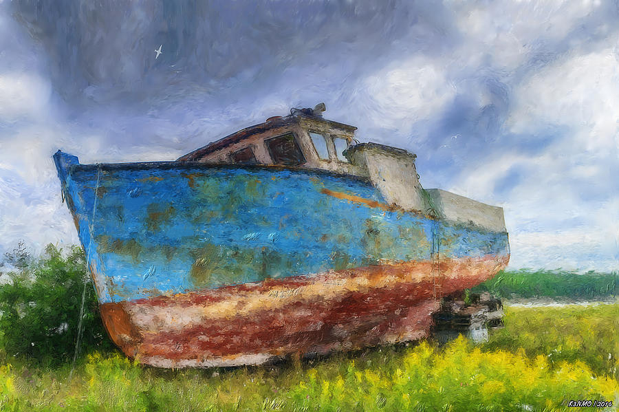 Fishing Painting - Old Fishing Boat by Ken Morris