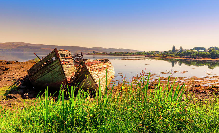 Boats Photograph - Old Fishing Boats by Roy McPeak