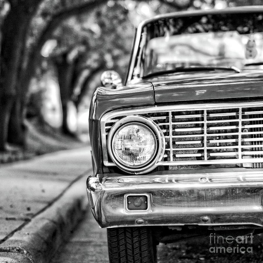 Old ford car square black and white by edward fielding